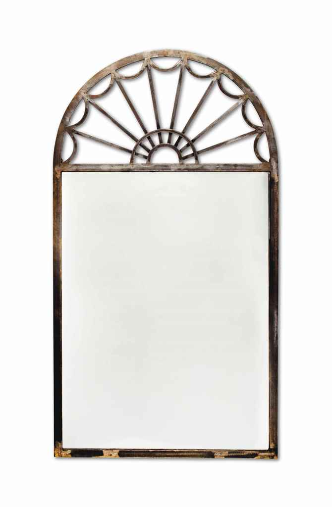 A PAIR OF STEEL MIRRORS,