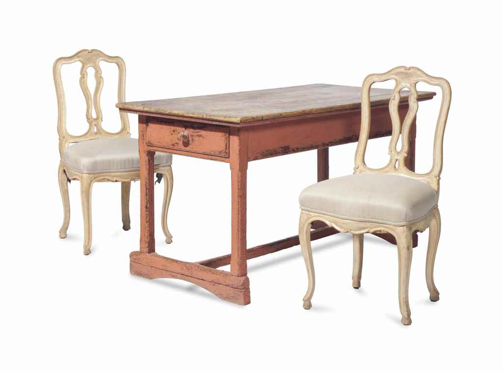 A PINK-PAINTED PINEWOOD TABLE,