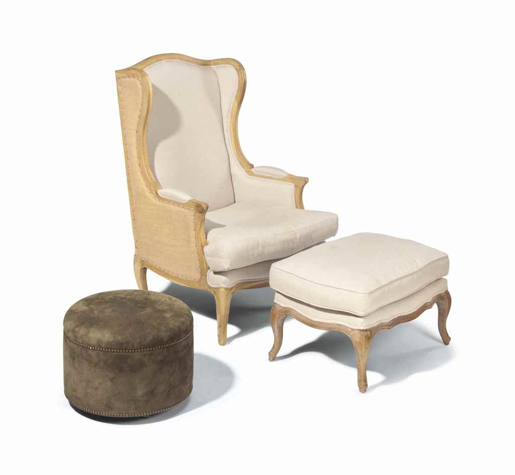 A WINGBACK BERGERE AND OTTOMAN