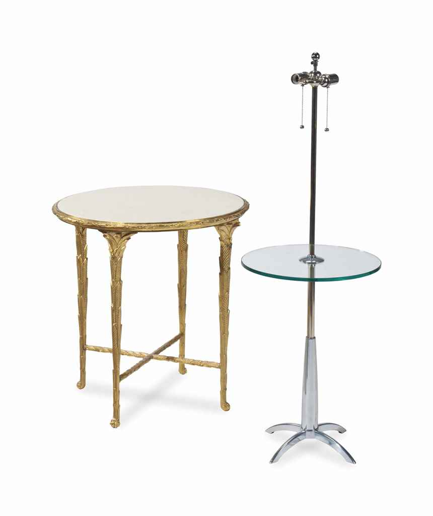 A GILT BRONZE AND MARBLE TOP G