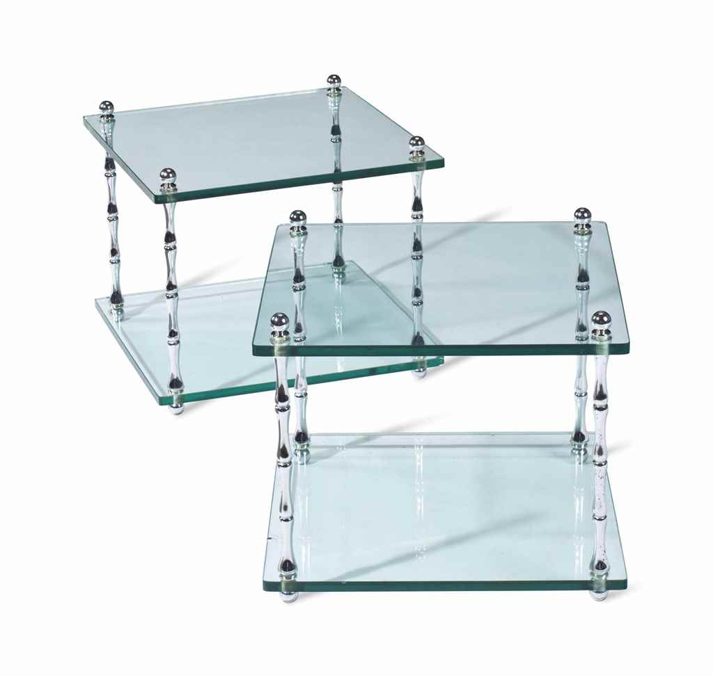 A PAIR OF GLASS AND SILVERED M