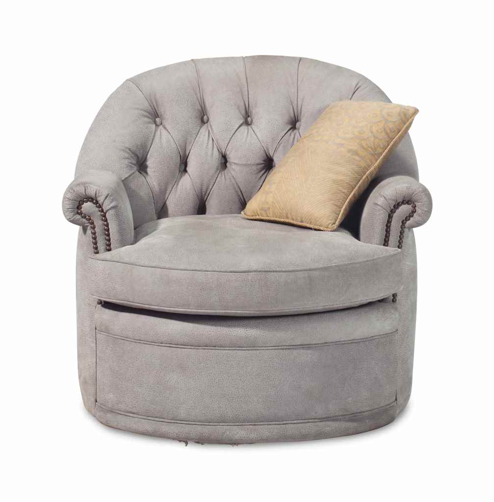 A BUTTON-TUFTED GREY UPHOLSTER