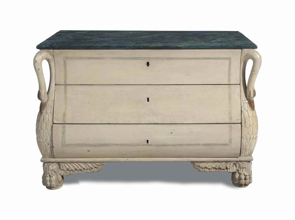 A CREAM-PAINTED BOMBE CHEST OF