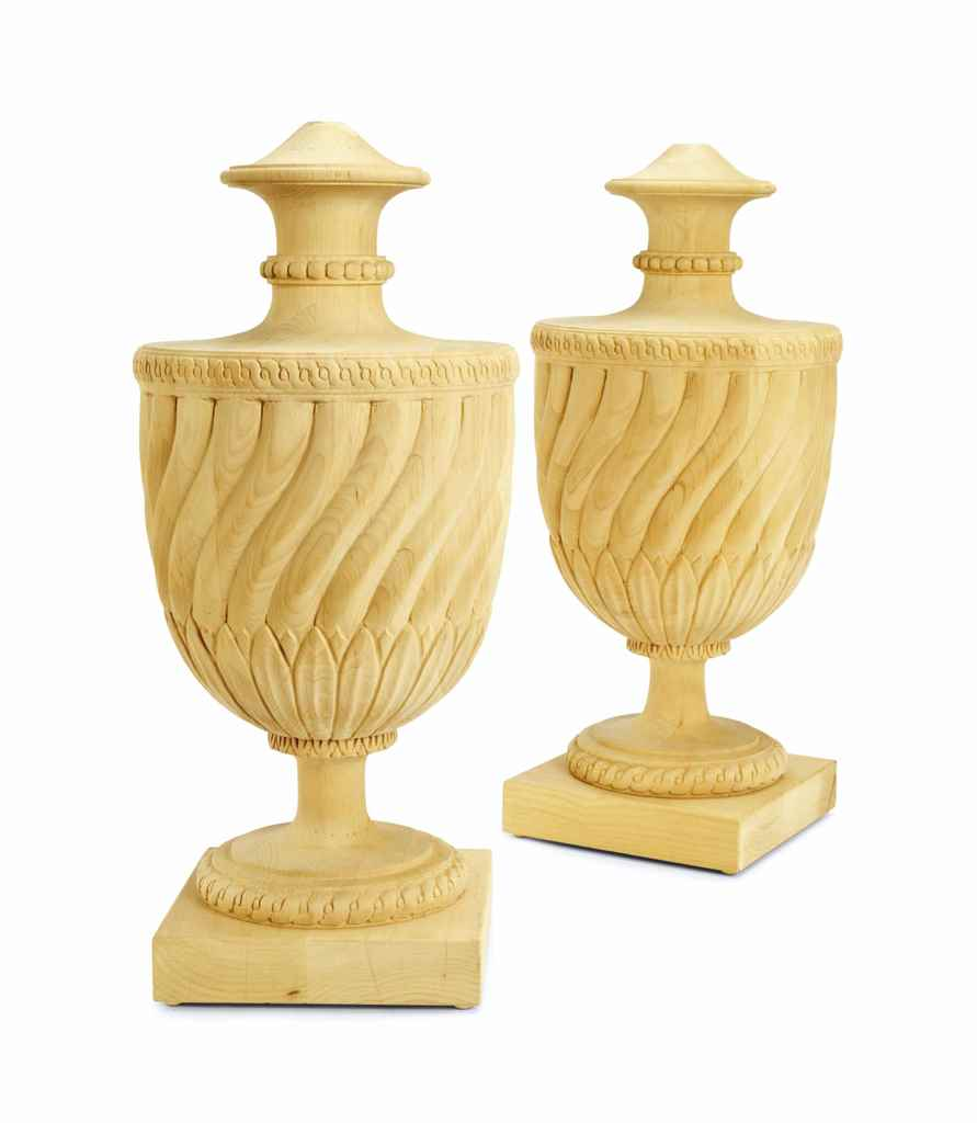 A SET OF FOUR RAW PINE URNS,