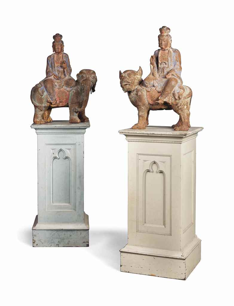 TWO CHINESE PAINTED CAST IRON