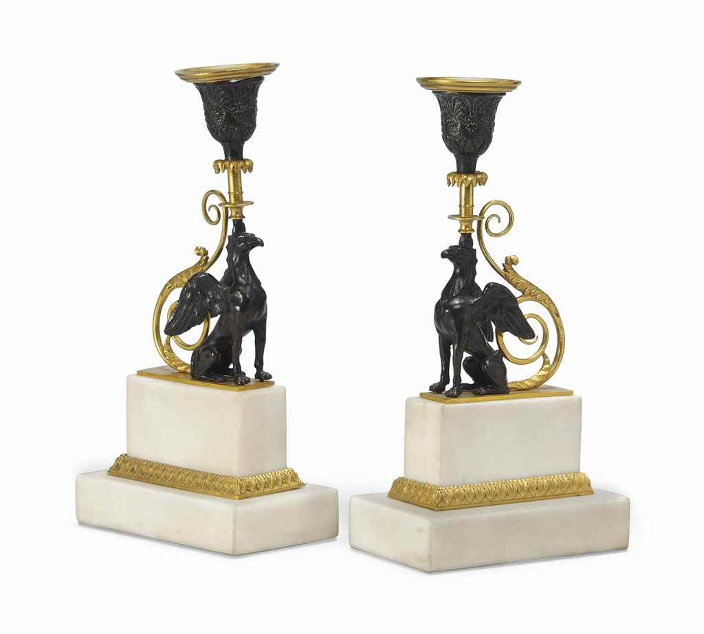 A PAIR OF REGENCY BRONZE AND P
