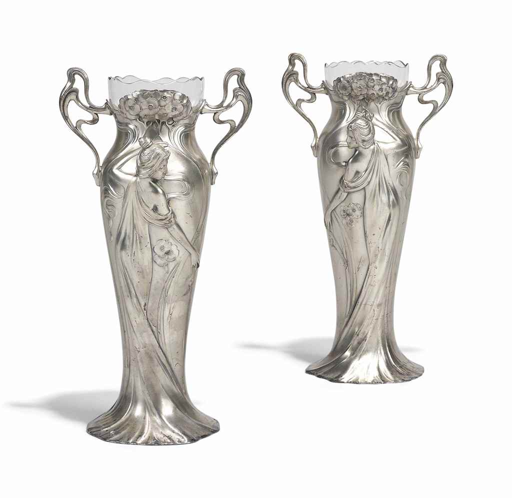 A PAIR WMF SILVERED-METAL AND
