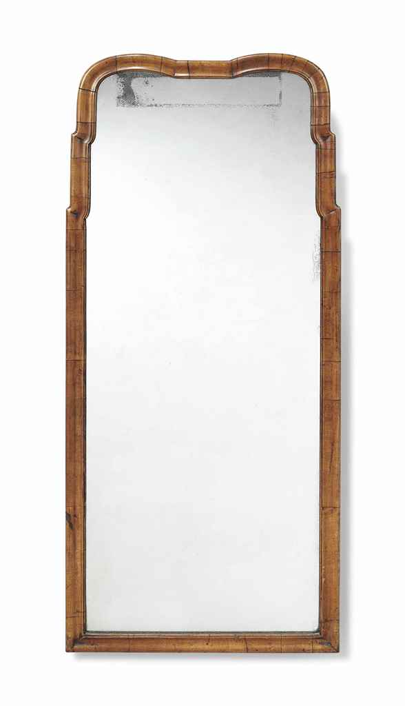 AN ENGLISH WALNUT PIER MIRROR
