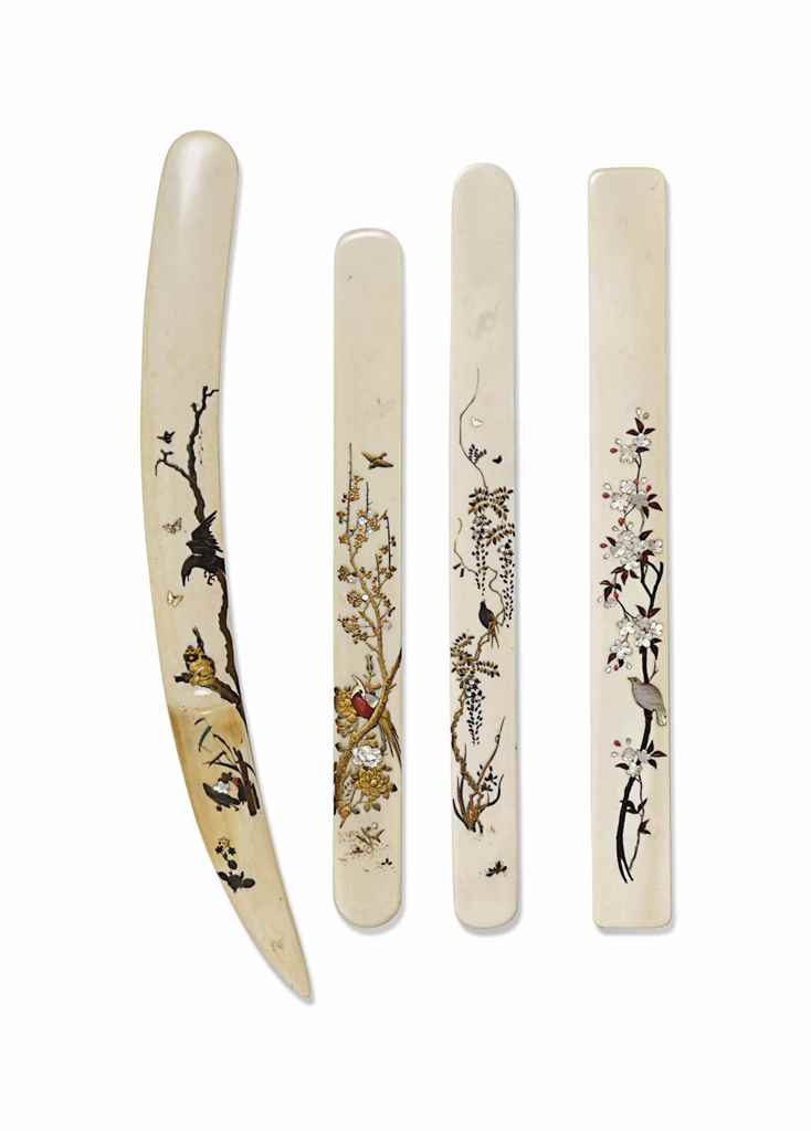 FOUR JAPANESE IVORY AND SHIBAY