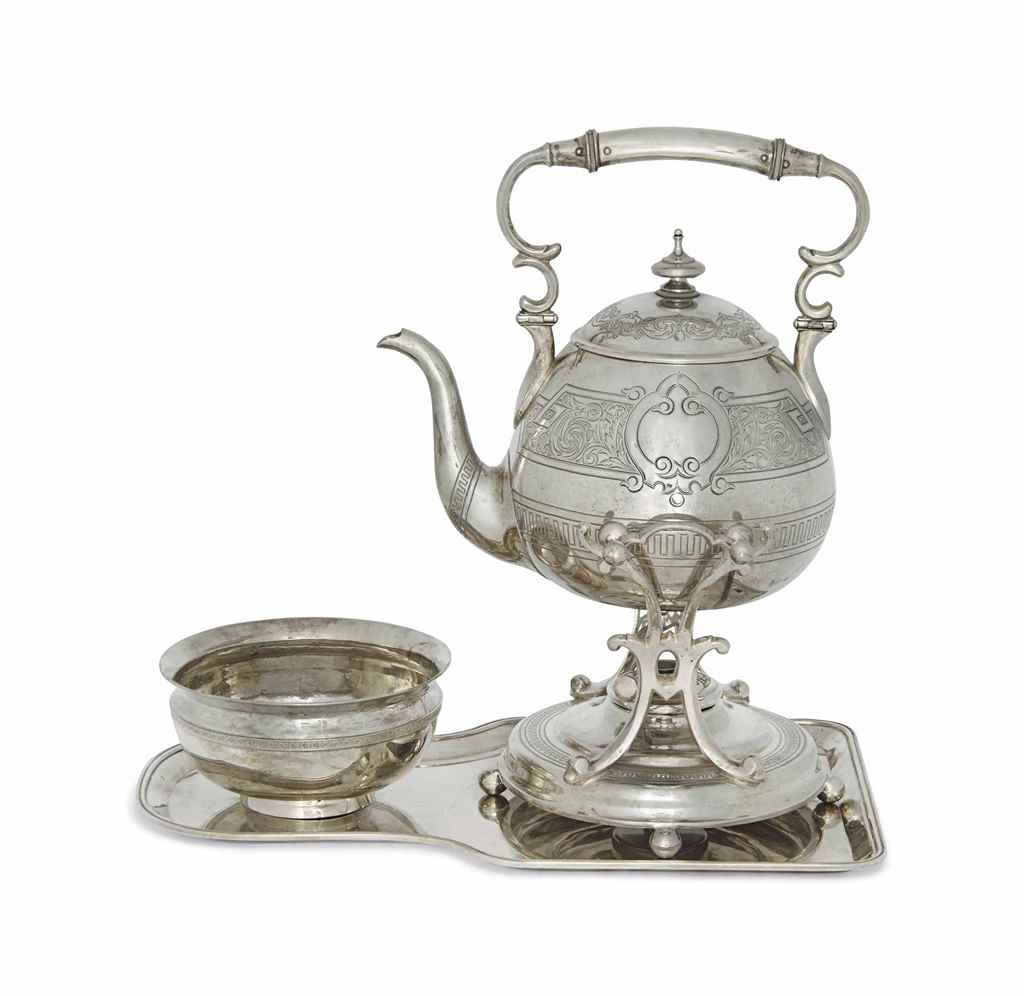 A CONTINENTAL SILVER KETTLE ON