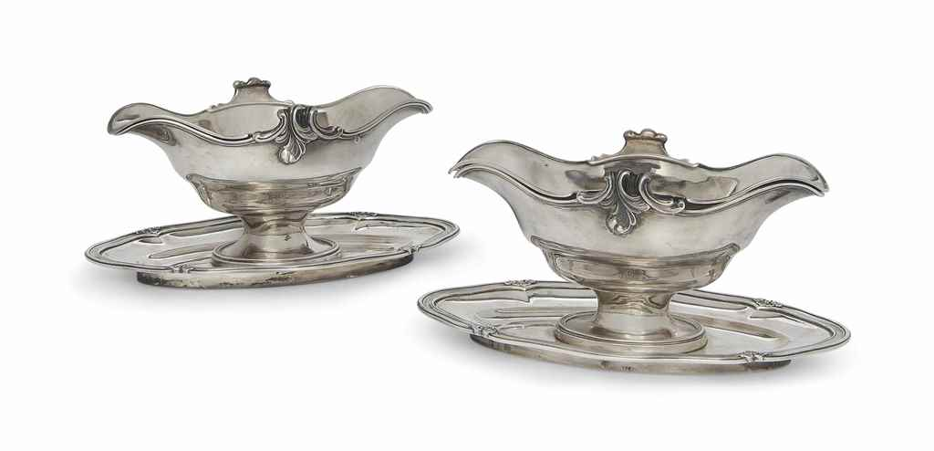 A PAIR OF FRENCH SILVER DOUBLE