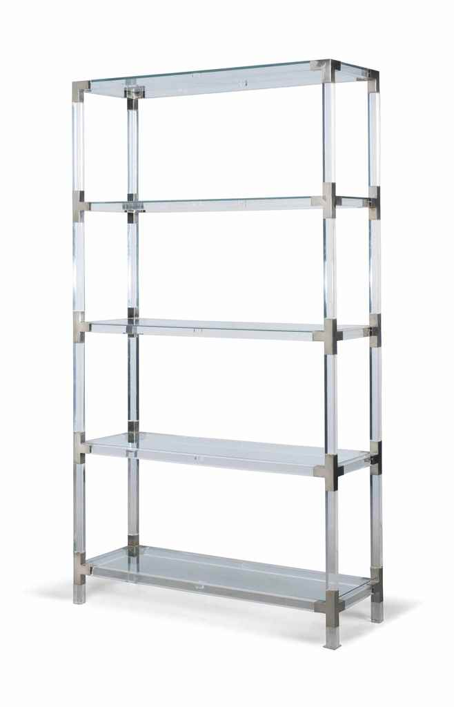 A five tier metal mounted acrylic etagere late 20th century probably itali - Etagere modulable metal ...