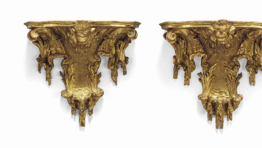 A pair of spanish rococo large giltwood wall brackets for Spanish baroque furniture