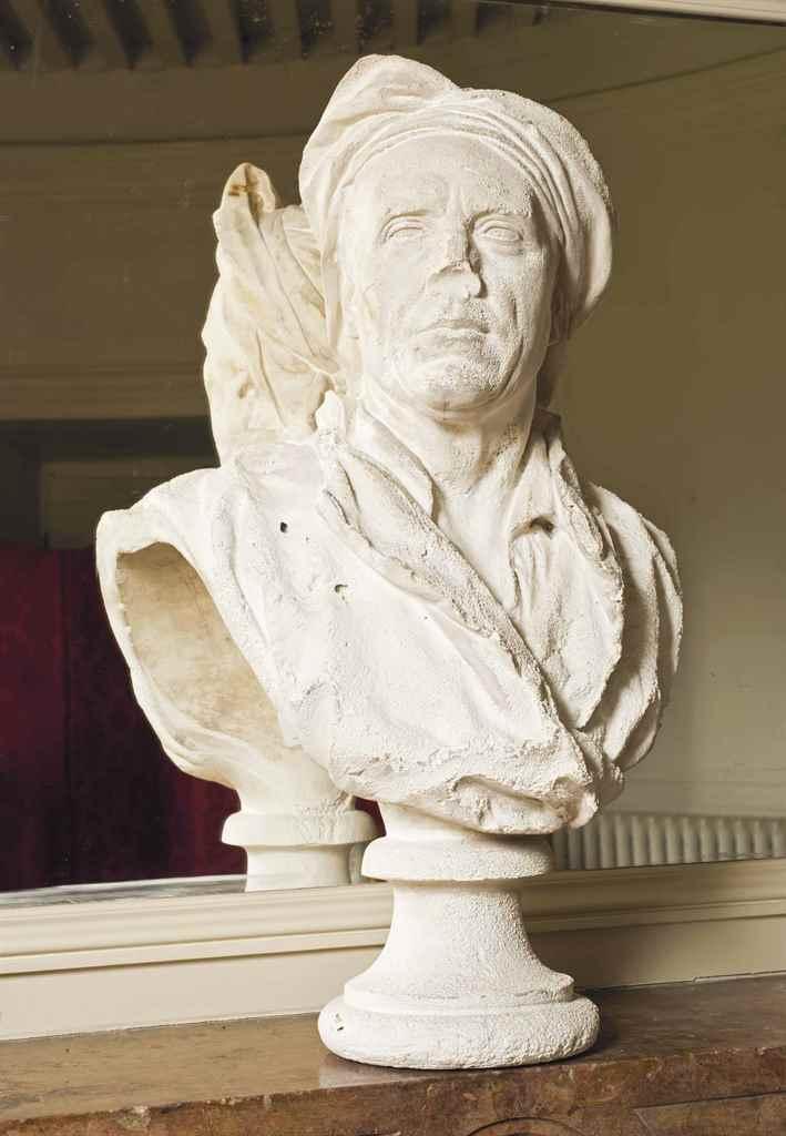 buste en platre representant nicolas coustou 1658 1733 d 39 apres guillaume coustou 1677 1746. Black Bedroom Furniture Sets. Home Design Ideas