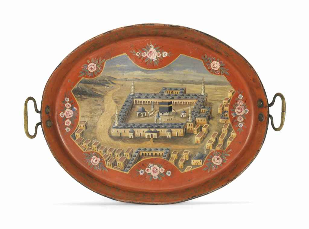 AN OTTOMAN PAINTED METAL TRAY WITH A DEPICTION OF THE