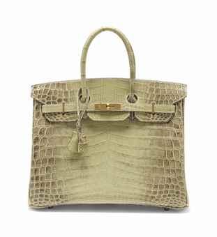 kelly green leather handbag - SAC BIRKIN 35 EN CROCODILE NILOTICUS NATURA LISSE VERT C��LADON ...