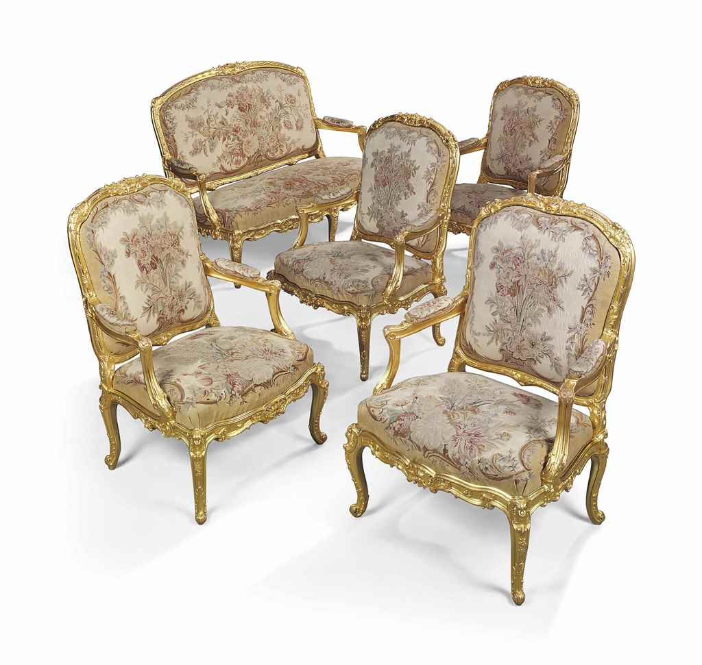 A french giltwood salon and tapestry five piece suite of for 2nd hand salon furniture sale