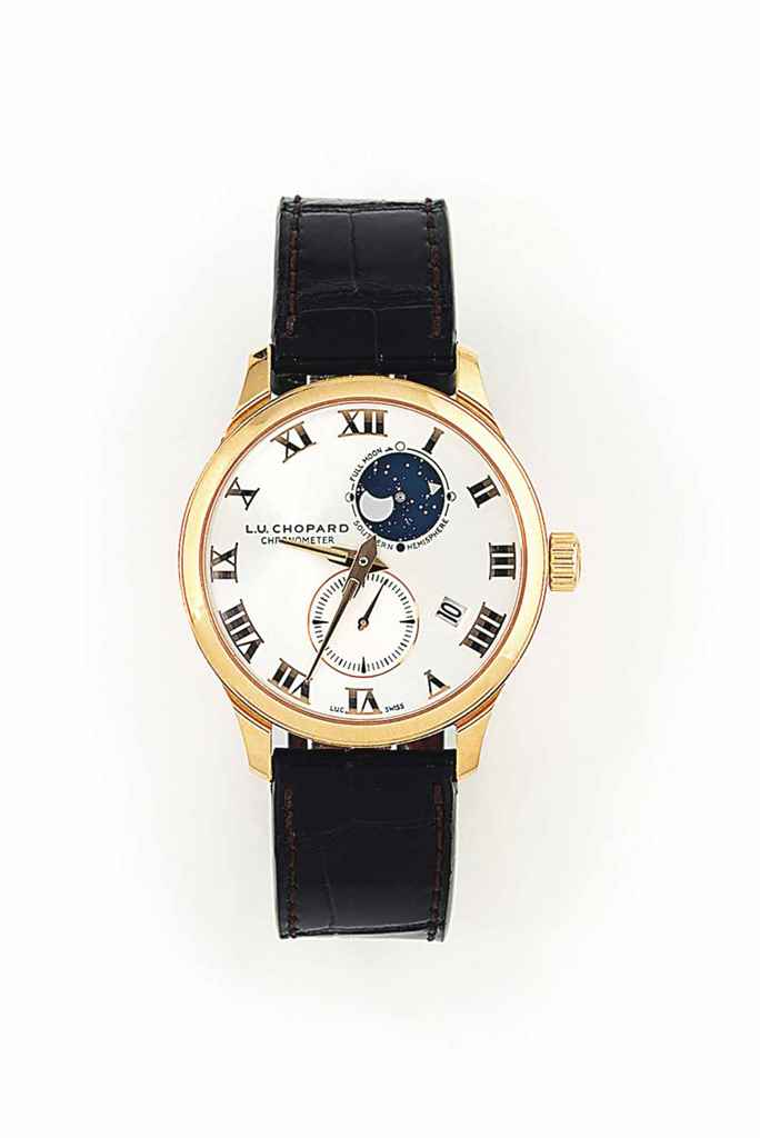 AN 18CT PINK GOLD 'LUNAR TWIN' AUTOMATIC WRISTWATCH WITH DAT...