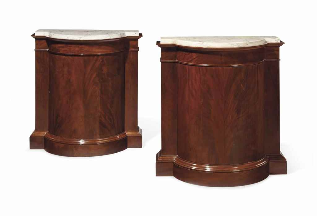 A PAIR OF FRENCH MAHOGANY SIDE