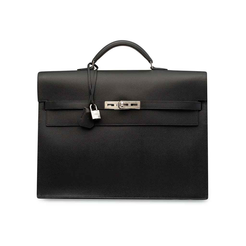 A BLACK EPSOM LEATHER KELLY DÉPÊCHE 38 WITH PALLADIUM HARDWA...