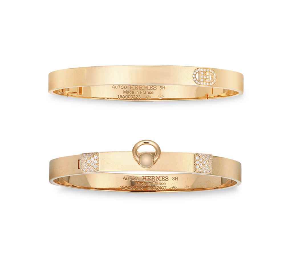 TWO DIAMOND & 18K ROSE GOLD PM BANGLES