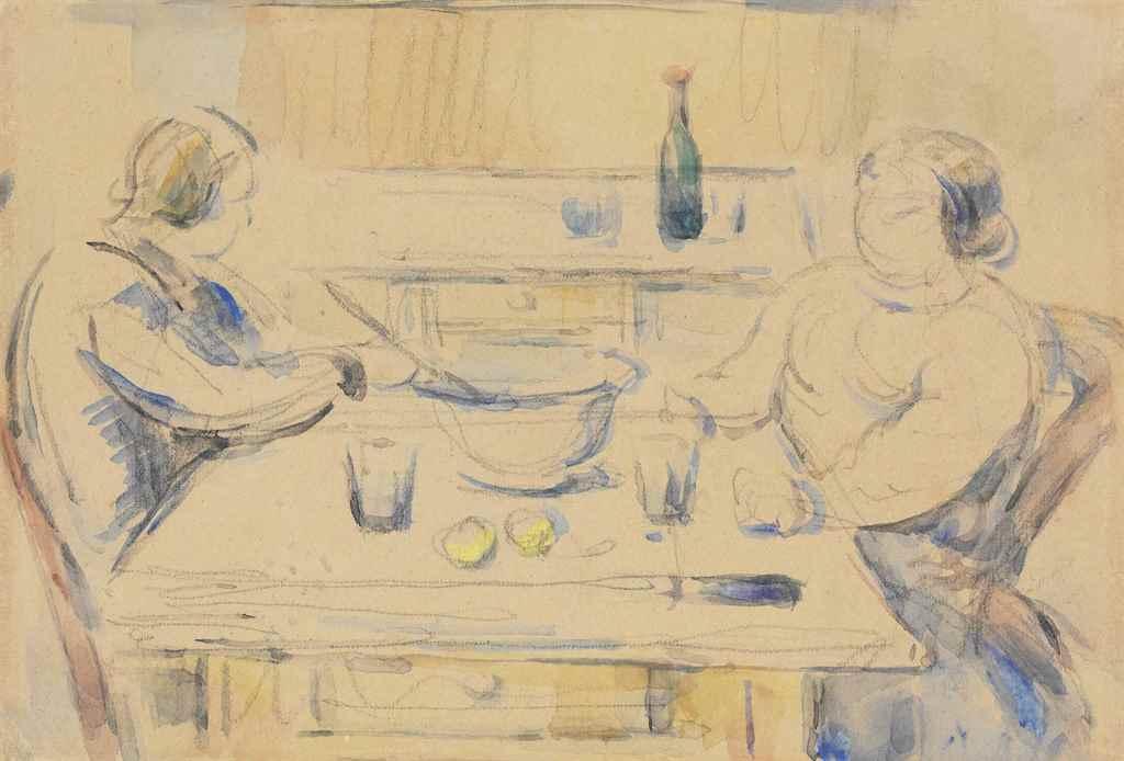 paul cezanne 1839 1906 le repas recto baigneur assis et dossier de chaise verso. Black Bedroom Furniture Sets. Home Design Ideas