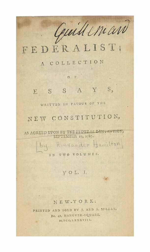 the federalist was a collection of essays Add tags for the federalist : a collection of essays be the first similar items related subjects: (3) constitutional law -- united states constitutional law united states confirm this request you may have already requested this item please select ok if you would like to proceed with this request anyway.