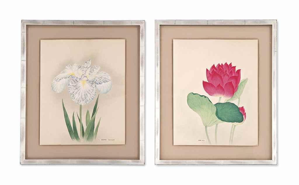 TWELVE JAPANESE WATERCOLOUR STUDIES OF FLOWERS