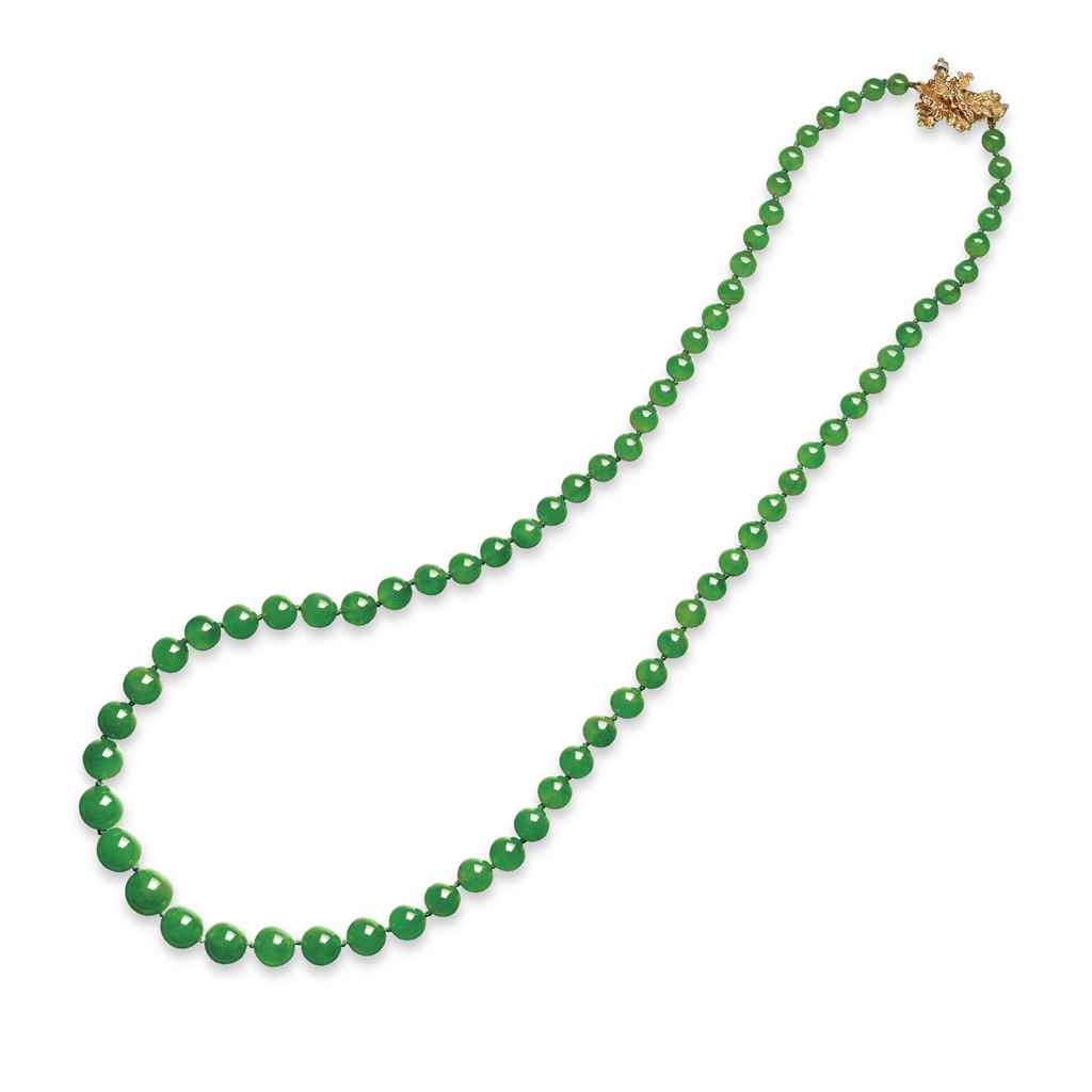 a jadeite bead necklace christie s