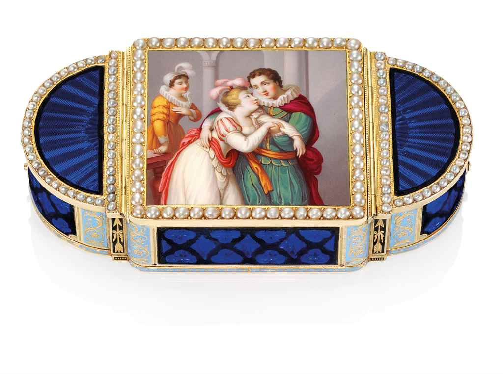 A SWISS JEWELLED ENAMELLED AND VARI-COLOUR GOLD THREE COMPAR...