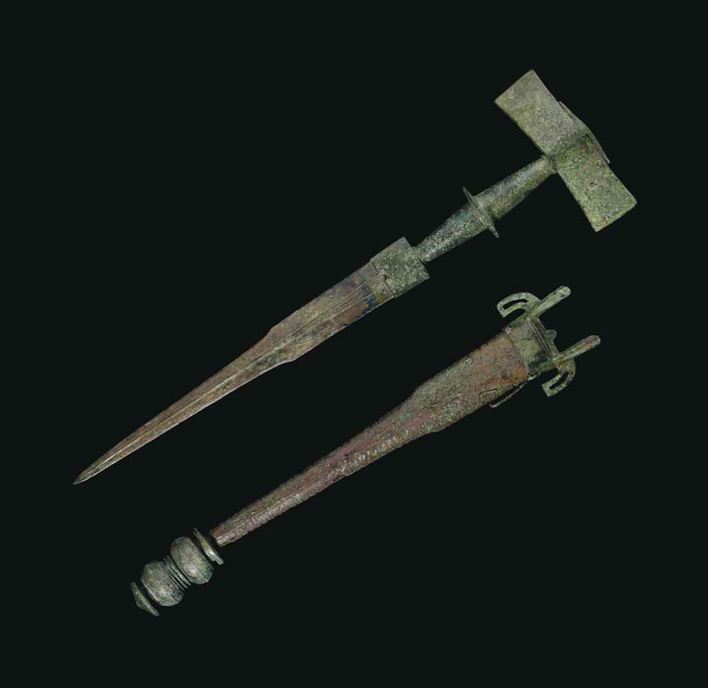 A CELTIC BRONZE DAGGER AND SCA