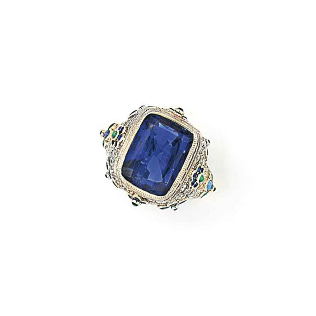 a sapphire and emerald ring christie s