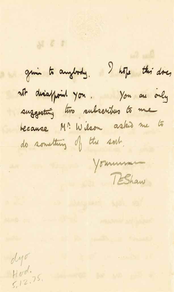 """LAWRENCE, T E Autograph letter signed (""""TE Shaw"""") to an unid..."""