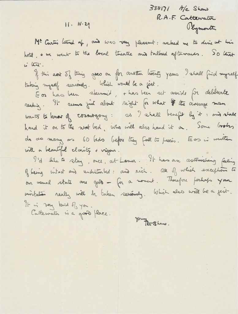 "LAWRENCE, T E Autograph letter signed (""T E Shaw""), to Apsle..."