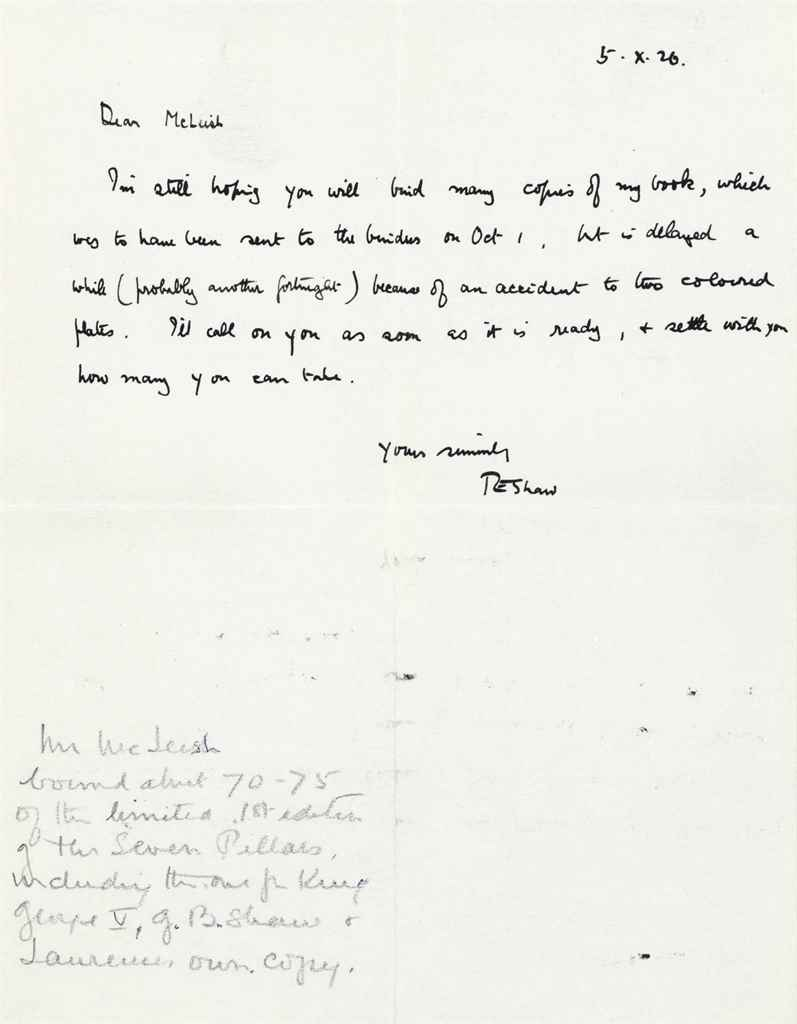 """LAWRENCE, T E Autograph letter signed (""""TE Shaw"""") to [C and ..."""