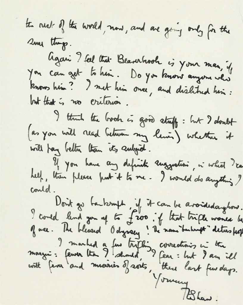 """LAWRENCE, T E Autograph letter signed (as """"TE Shaw""""), to Cap..."""