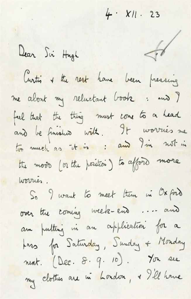 """LAWRENCE, T E Autograph letter signed (""""TE Lawrence"""") to Sir..."""