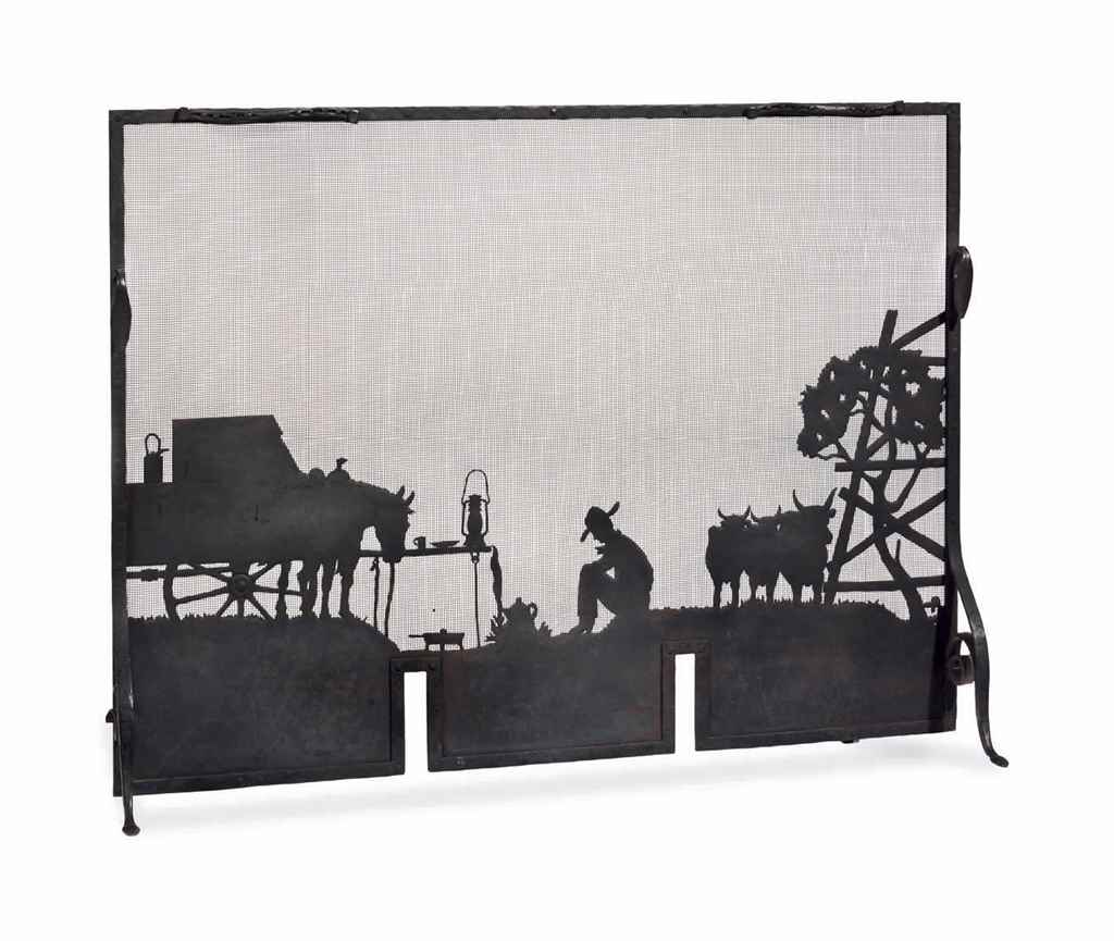 An American Western Design Wrought Iron Firescreen Possibly After A Design By Ed Grigware Mid