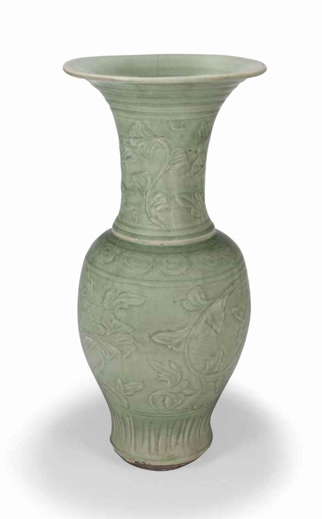 A Chinese Carved Longquan Celadon Glazed Vase Ming