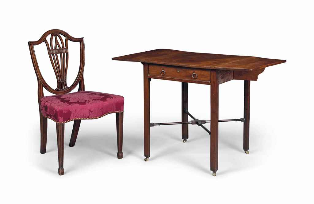 A GEORGE III MAHOGANY DROP LEAF TABLE AND A GEORGE III MAHOG...