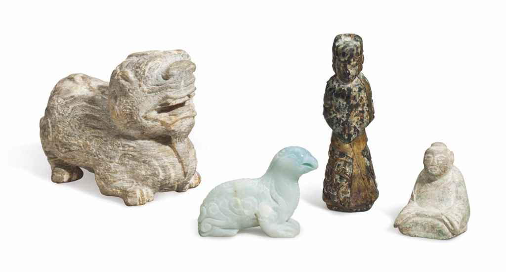 Carved Stone Glass : Four chinese archaistic carved glass or stone figures