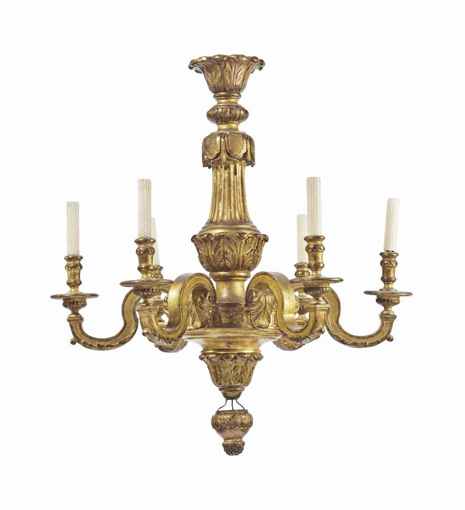 A pair of baroque style giltwood six light chandeliers for Modern baroque style