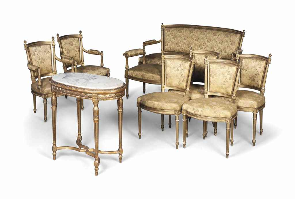 A french giltwood nine piece salon suite early 20th for 212 salon st louis