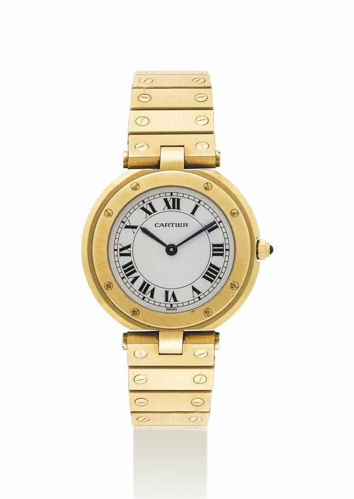 CARTIER. A GOLD WRISTWATCH WIT