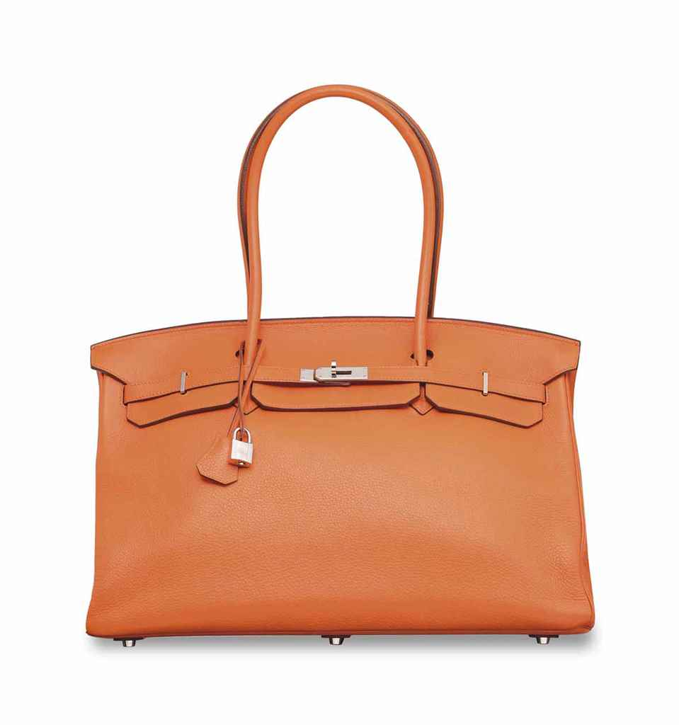 AN ORANGE CLÉMENCE LEATHER SHO