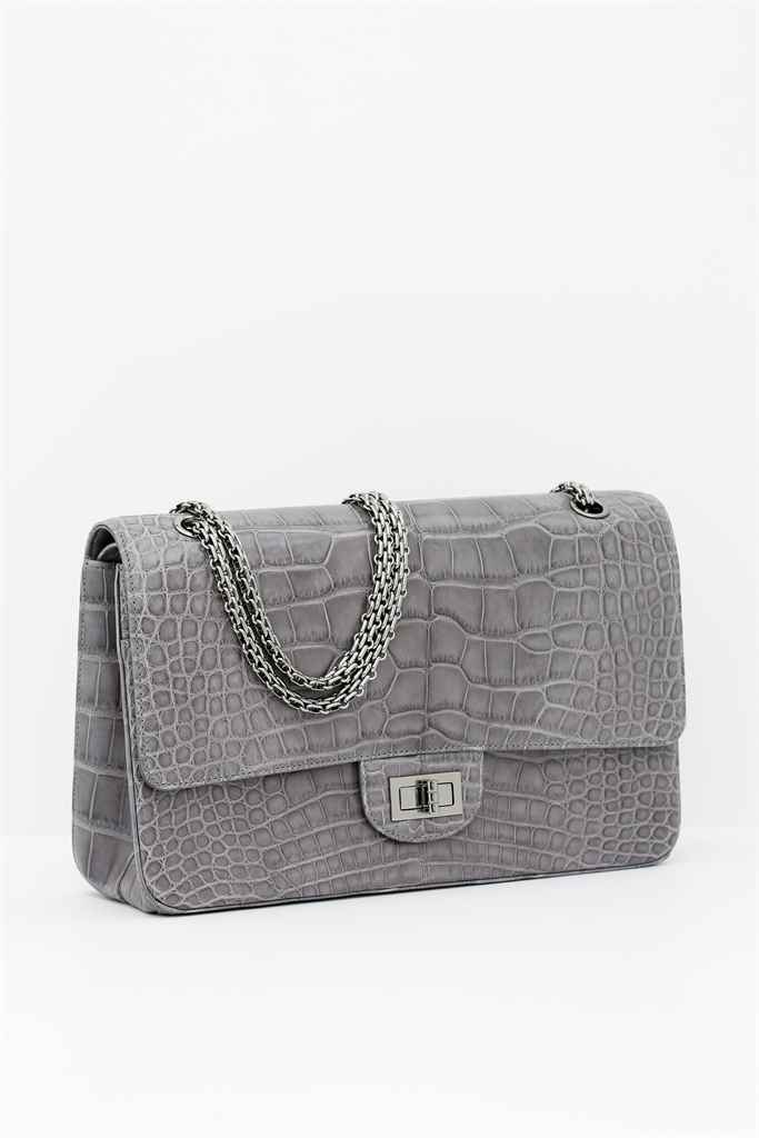CHANEL. A MATTE GREY CROCODILE