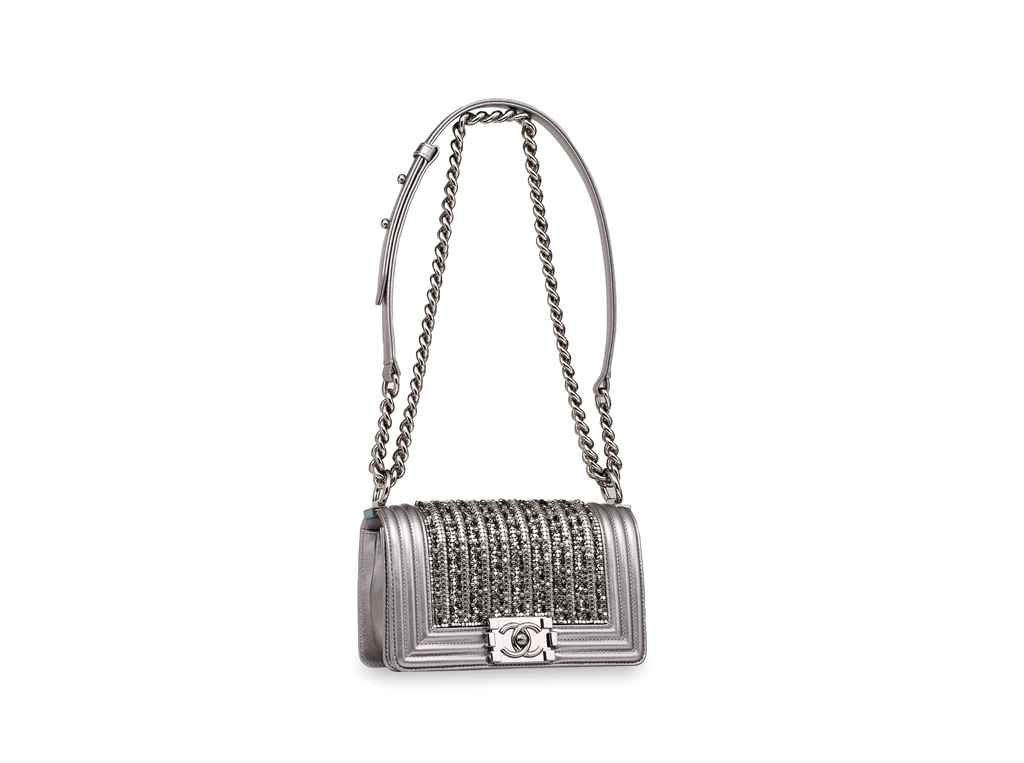 CHANEL. A METALLIC SILVER & CR