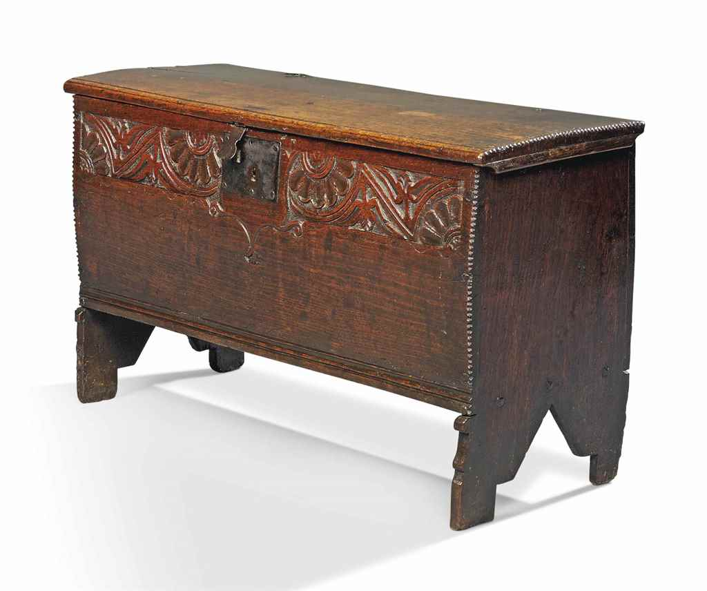 A CHARLES I OAK PLANK CHEST