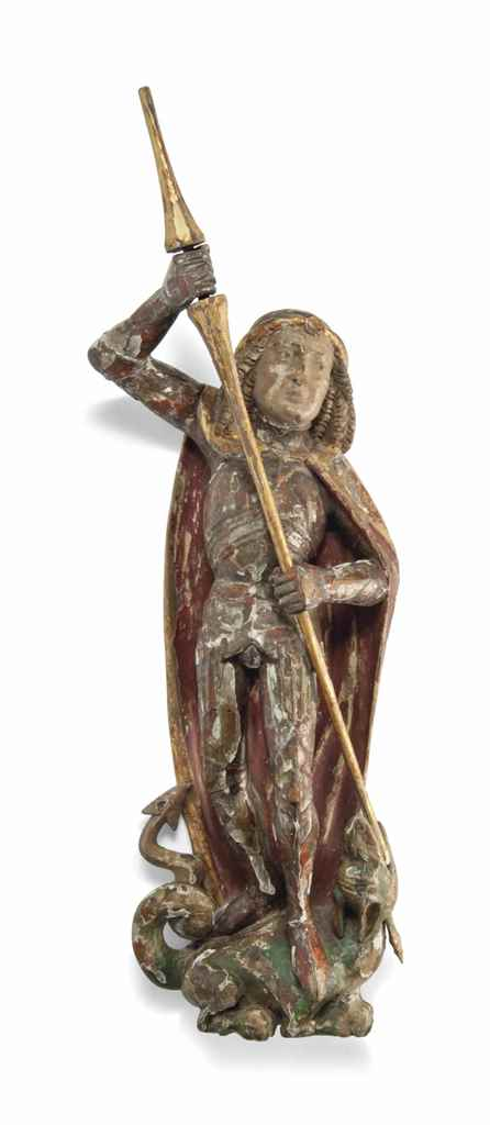 A TYROLEAN CARVED WOOD AND POL