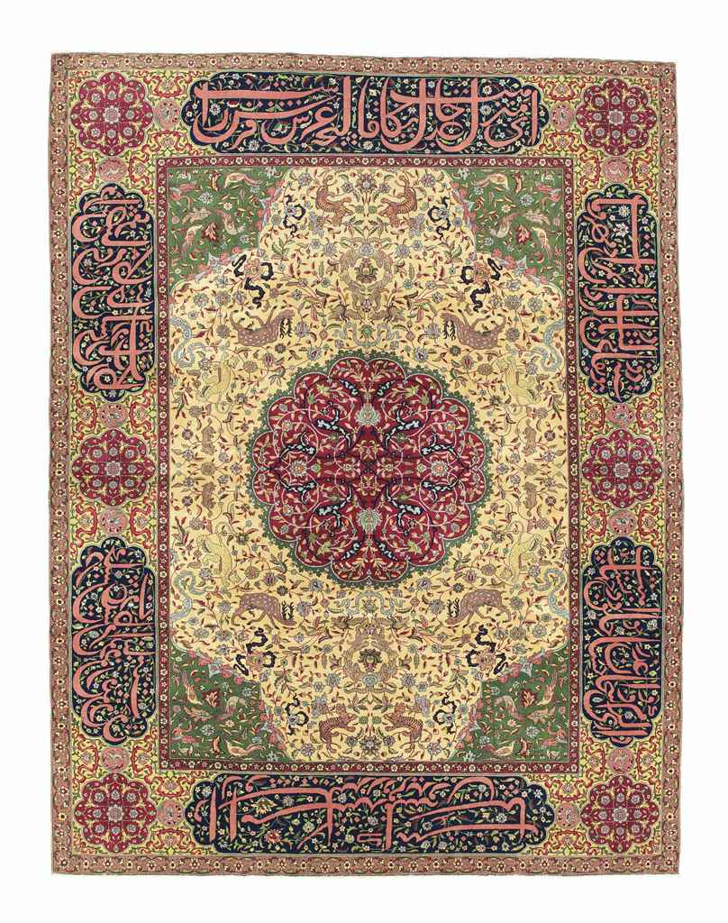 A VERY FINE INDO-TABRIZ CARPET